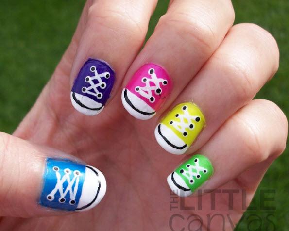 Fingernail Humor Art Sneakers Multi Color